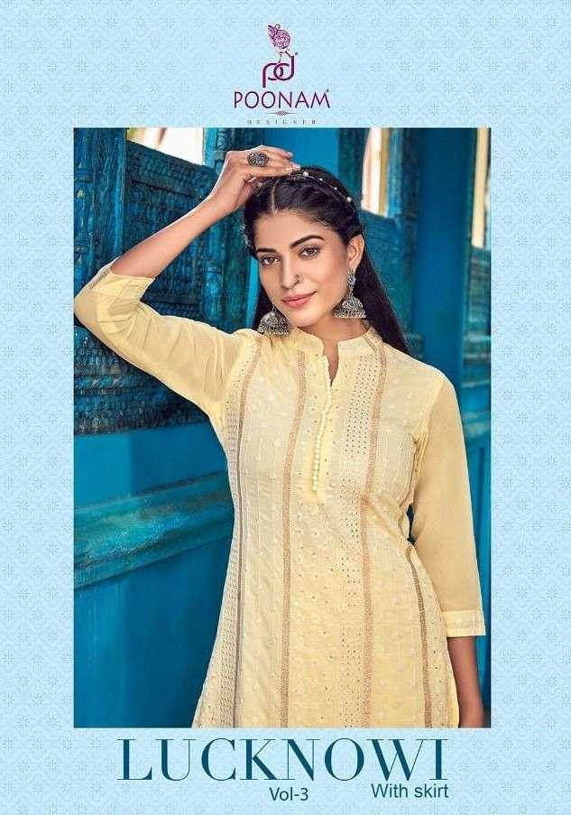 Poonam Lucknowi Vol 3 Georgette Kurti With Skirt Latest Catalog Wholesaler