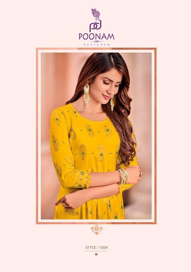 Poonam Minakari Gown fancy Rayon Kurti Gown Catalog Wholesaler