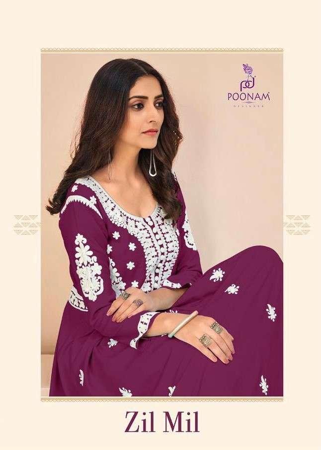 Poonam Zil Mil fancy Embroidery Work Cotton Kurti catalog Wholesale price