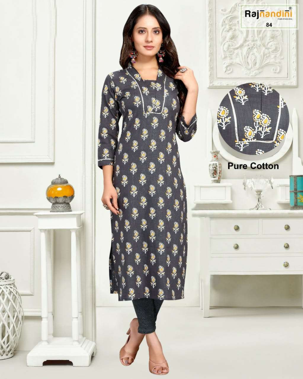 Rajnandini Vol 28 Regular Wear Cotton Kurti New Designs In Wholesale Rate