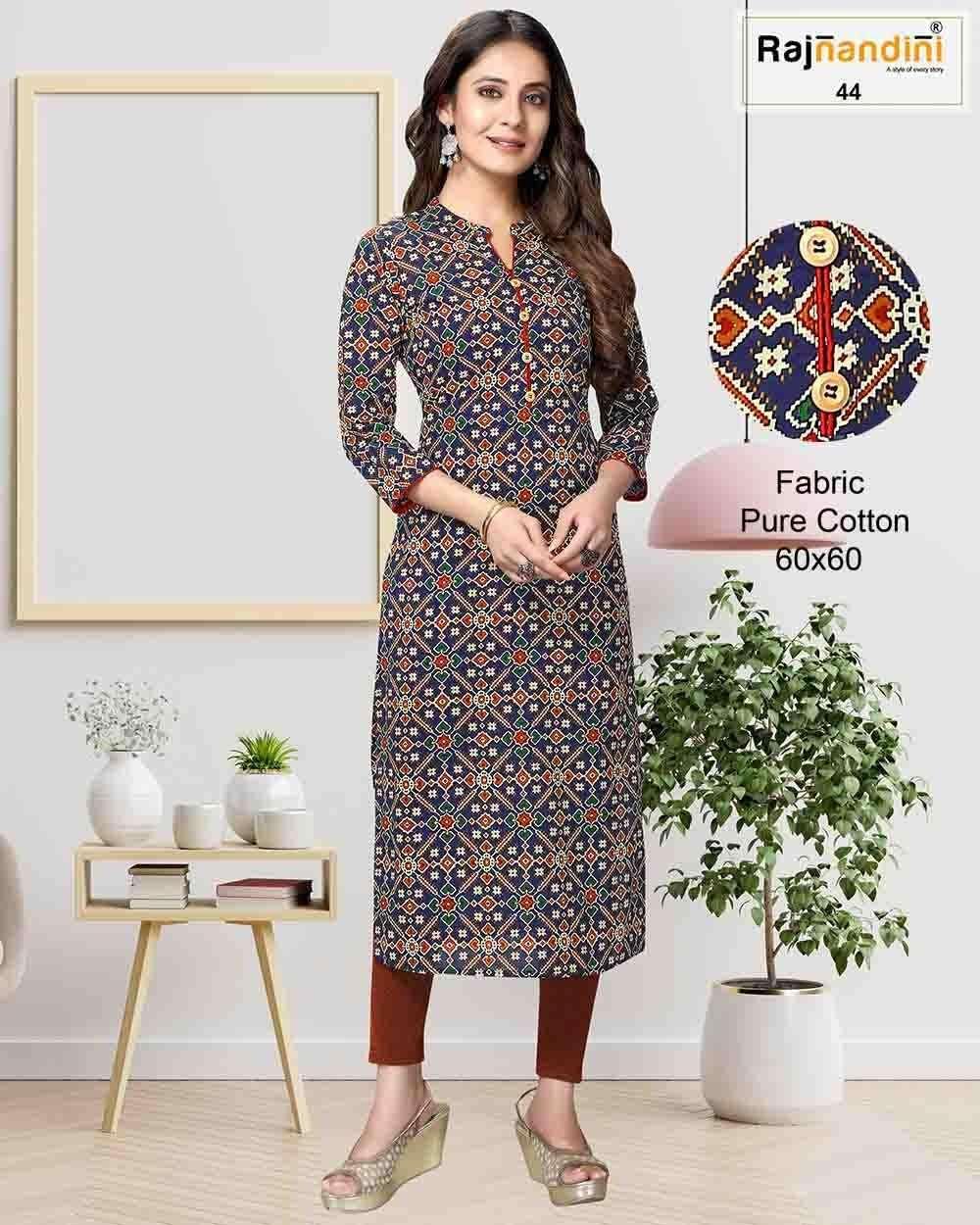 Rajnandini Vol A fancy Cotton Printed kurti Catalog Supplier in Surat