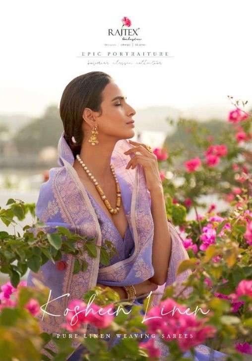 Rajtex Kosheen Linen Exclusive Linen Cotton Saree Catalog Wholesale dealer in Surat