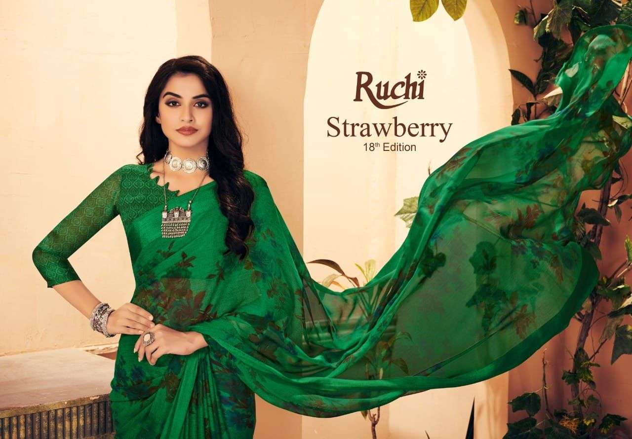 Ruchi Sarees Strawberry 18th Edition Printed Chiffon Saree Catalog Supplier in Surat