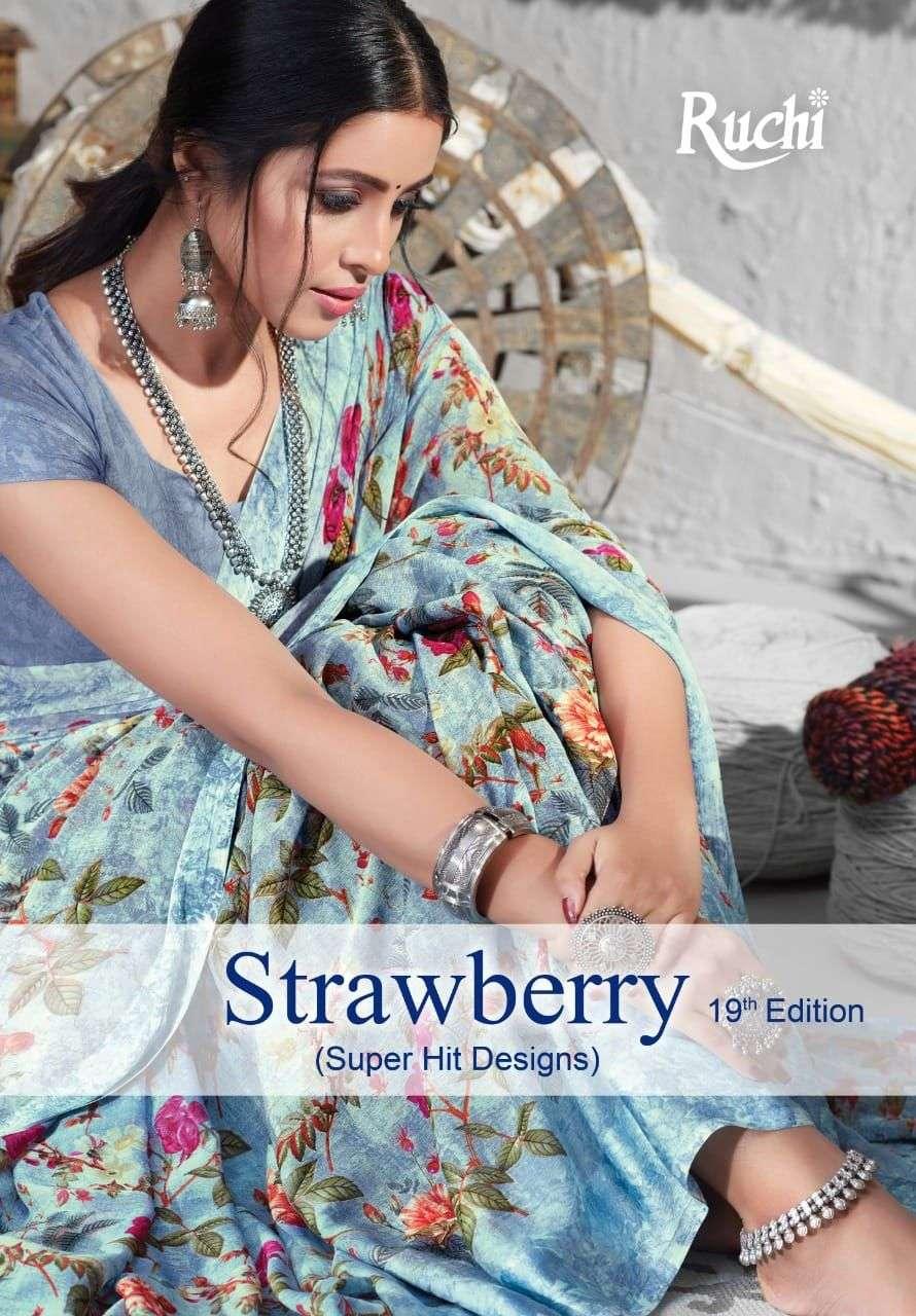 Ruchi Sarees Strawberry 19th Edition Printed Georgette Saree Catalog Supplier