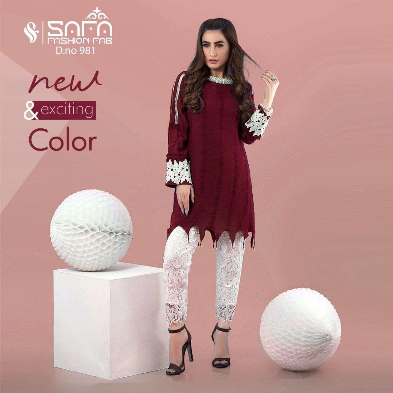 Safa Fashion Fab SF 981 Fancy Georgette Kurti Bottom Set new Collection
