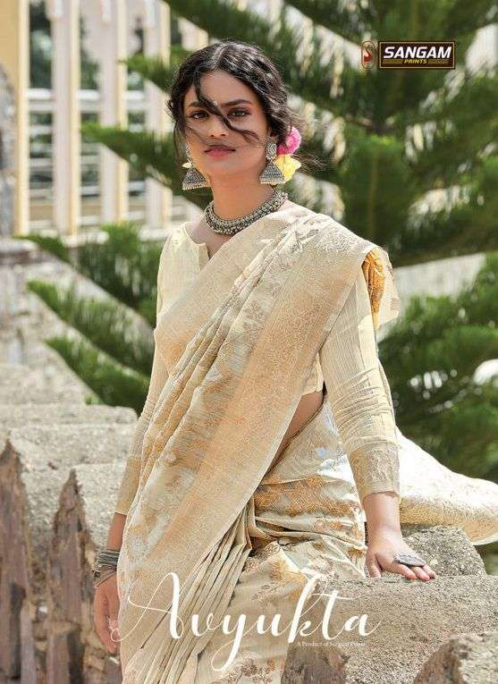 Sangam Avyukta Fancy Linen Cotton Saree Catalog Wholesale Price