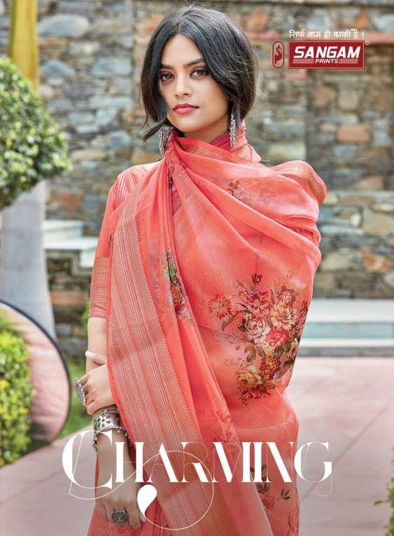 Sangam Charming Printed fancy Organza Saree Catalog Wholesale Price