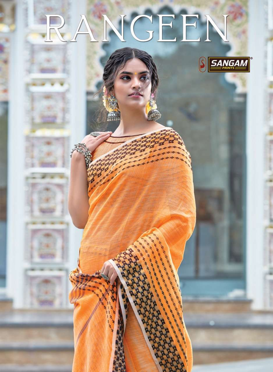 Sangam Rangeen Linen Saree Catalogue Dealer