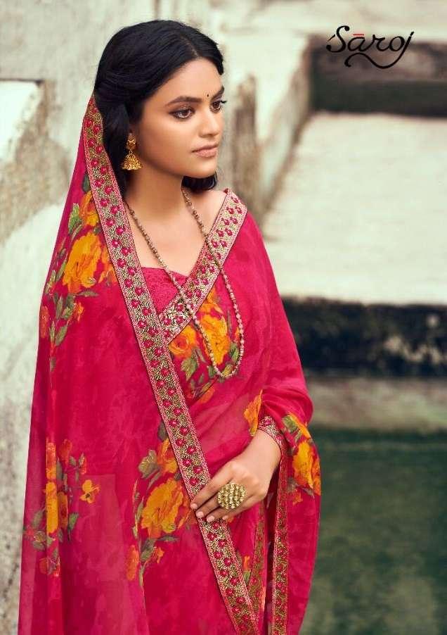 saroj Saree Lily Fancy Printed Georgette Saree Catalog Wholesale Price