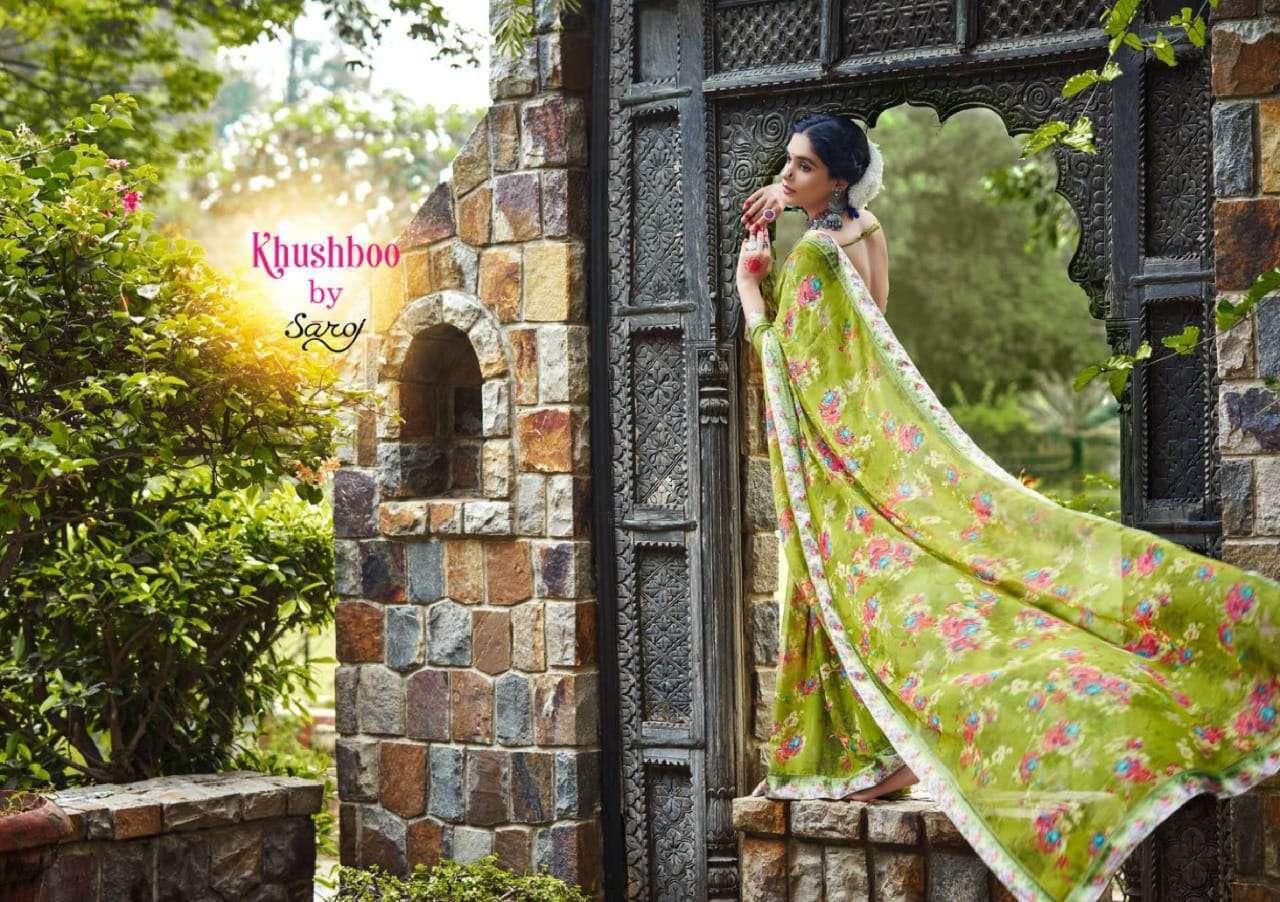 Saroj Sarees Khushboo Fancy Printed Georgette Saree Catalog Wholesaler