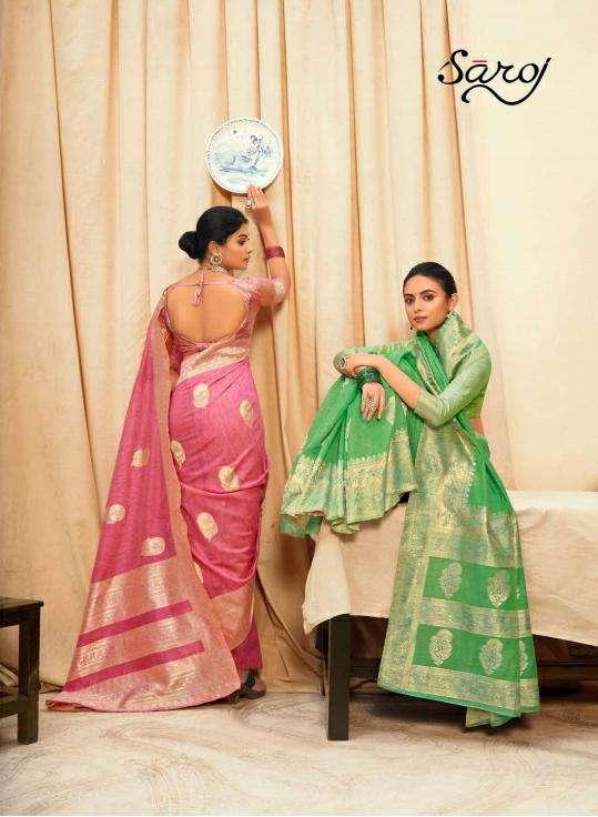 Saroj Sarees Nasheen Vol 1 Linen Cotton Silk Saree Catalogue Dealer