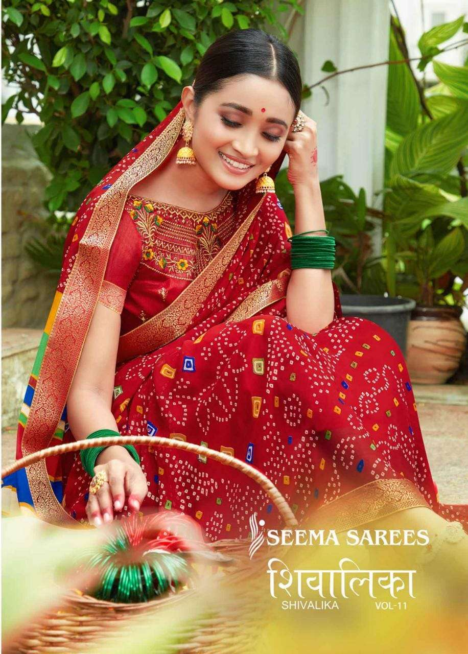 Seema Sarees Shivalika Vol 11 Georgette Bandhani Print Saree Wholesale