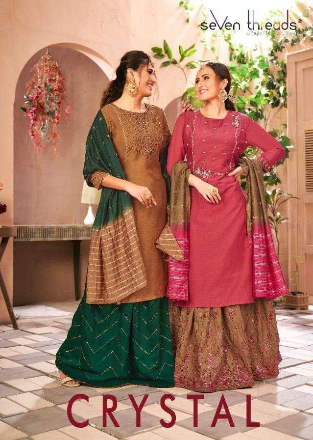 Seven Thread Crystal Exclusive Kurti Lehenga Dupatta Set Catalog Wholesale In Surat