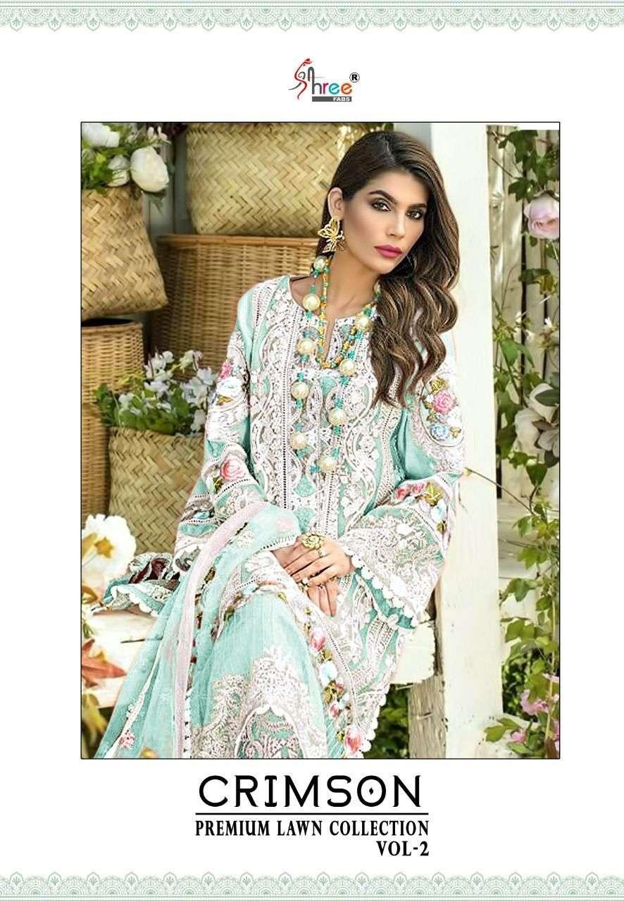 Shree Fabs Crimson Premium lawn Collection Vol 2 Fancy Pakistani Suit Catalog Dealer