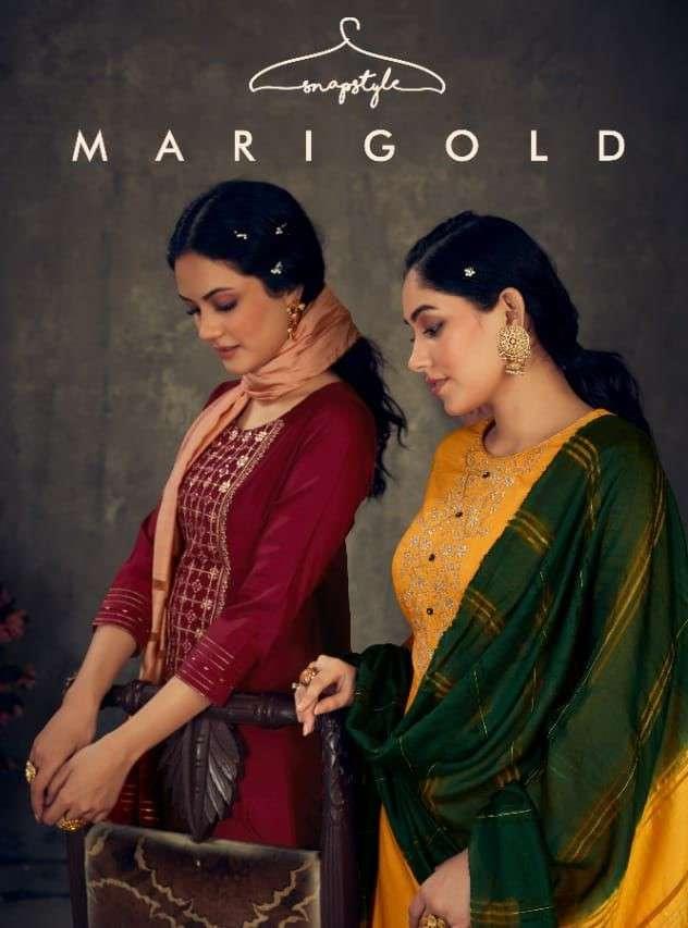 Snapstyle Marigold Straight Silk Kurti With Bottom Dupatta Wholesale Price