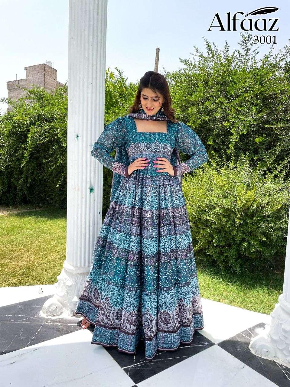 Stylishta Alfaaz Vol 3 Digital Printed Kurti Gown With Dupatta Set Collection