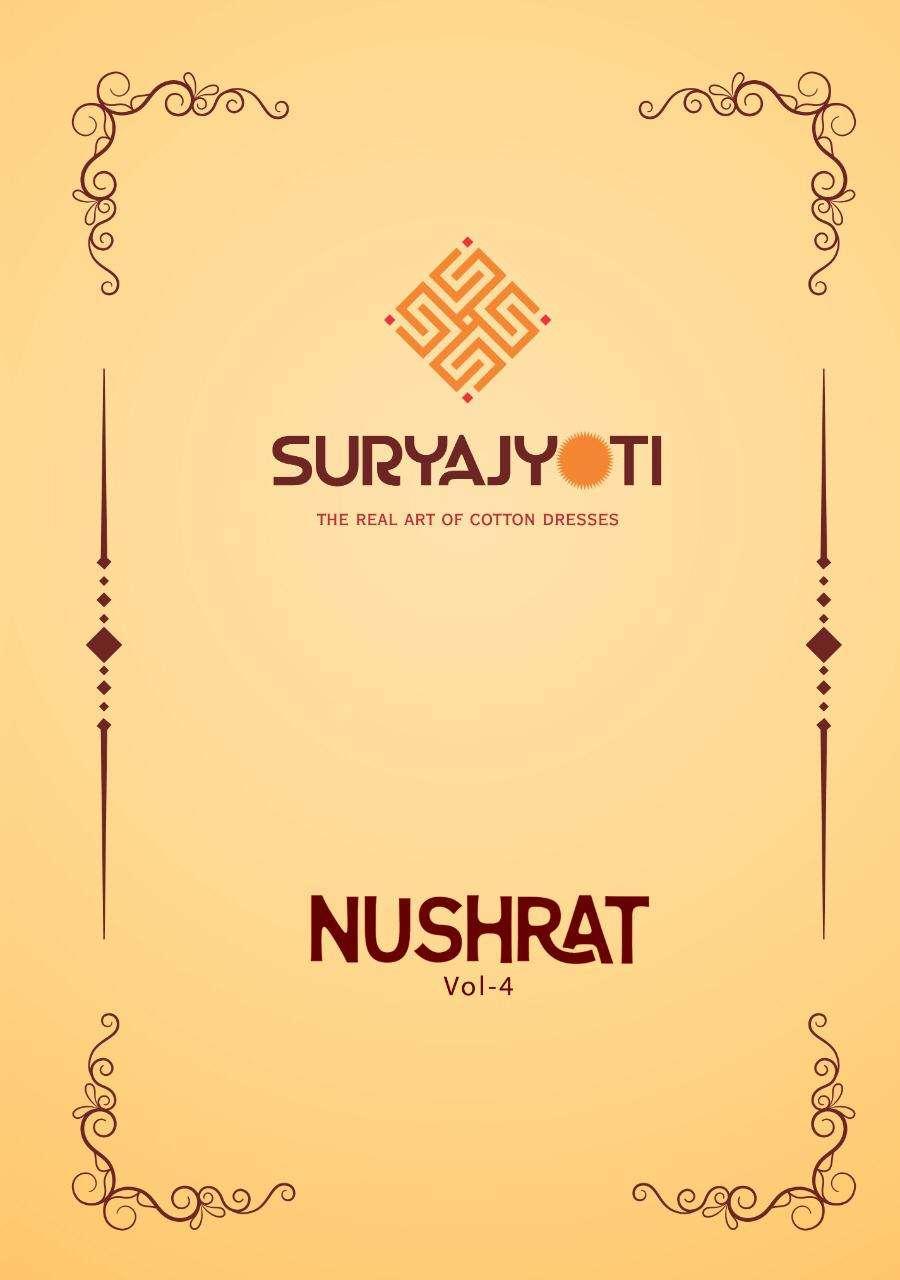 Suryajyoti Nushrat Vol 4 Satin Cotton With Work Salwar Suit