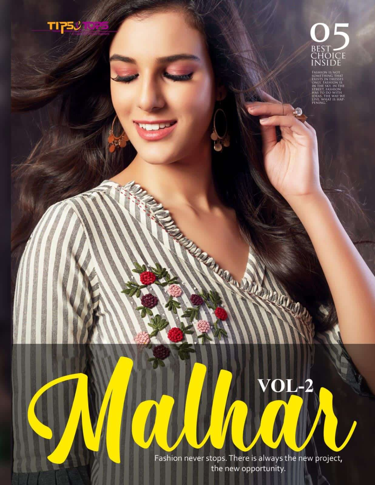Tips and Tops Malhar Vol 2 Fancy Rayon kurti Bottom Sets New Catalog Supplier