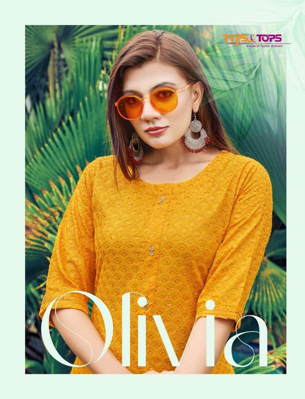 Tips and Tops Olivia Vol 2 Chikan Work Rayon Kurti New Designs