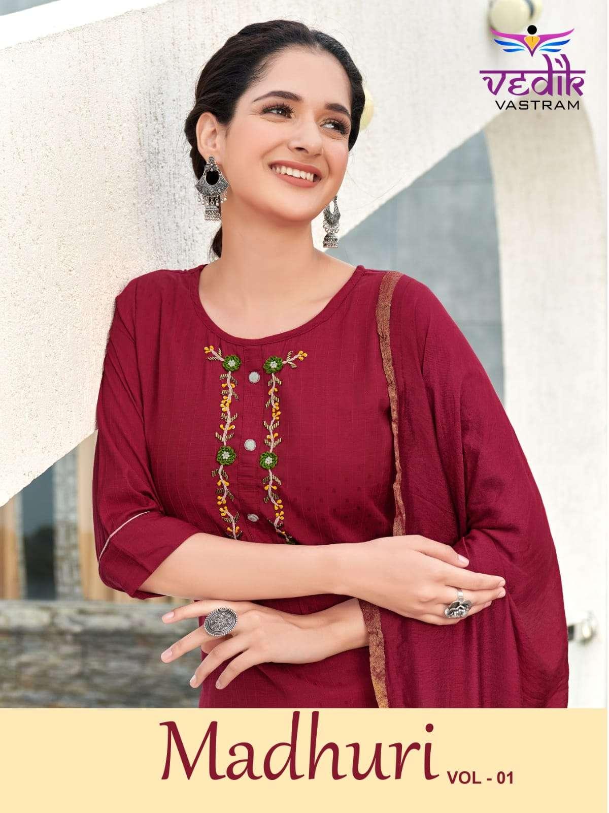 Vedik vastram Madhuri Vol 1 Fancy Cotton Kurti Bottom Dupatta Sets