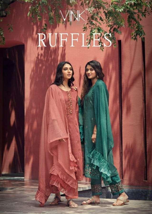 Vink Ruffles Designer Fancy Silk Kurti Pant Dupatta Wholesale