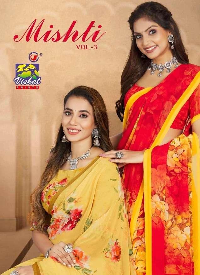 Vishal Mishti Vol 3 Digital Printed Georgette Saree Catalog Supplier