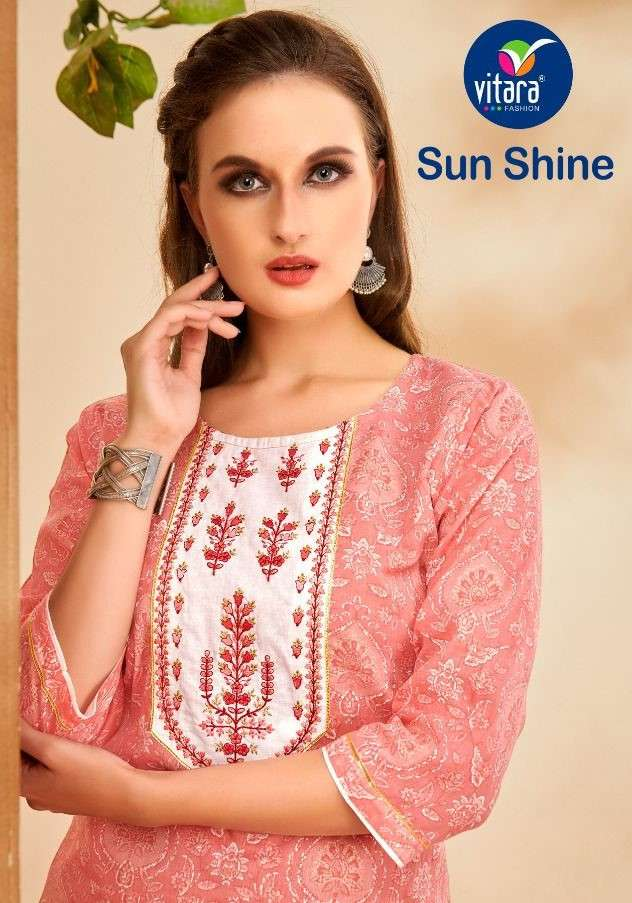 Vitara Sunshine Fancy Cotton Kurti Pents Set new Catalog Wholesaler