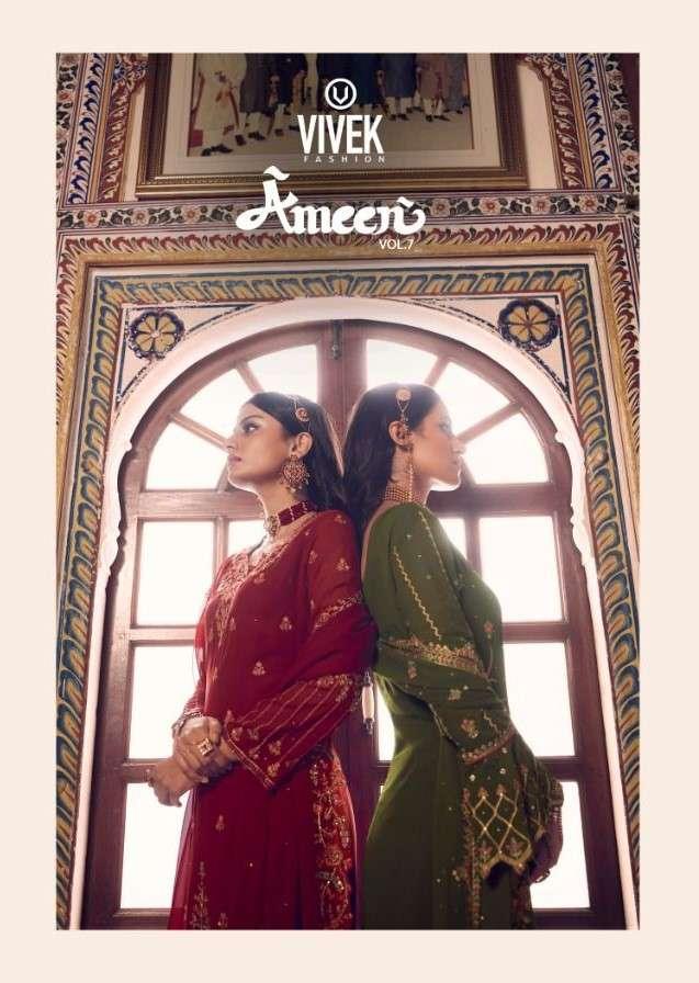 Vivek Ameen Vol 7 Party Wear Designer Straight Suit Catalog Wholesale Price