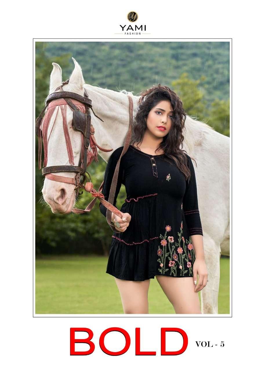 Yami Fashion Bold Vol 5 Fancy Rayon Short tops Catalog Supplier in Surat