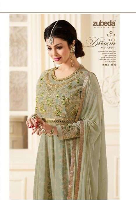 Zubeda Raazi inner print party wear Kali style salwar suit catalogue wholesale supplier