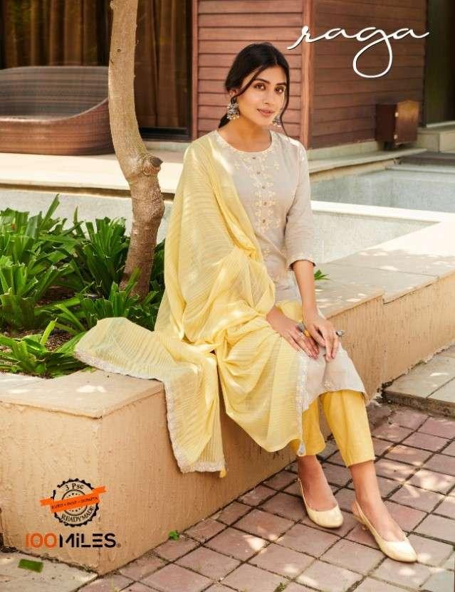 100 Miles Raga Stylish Cotton Kurti Bottom Dupatta Set Collection