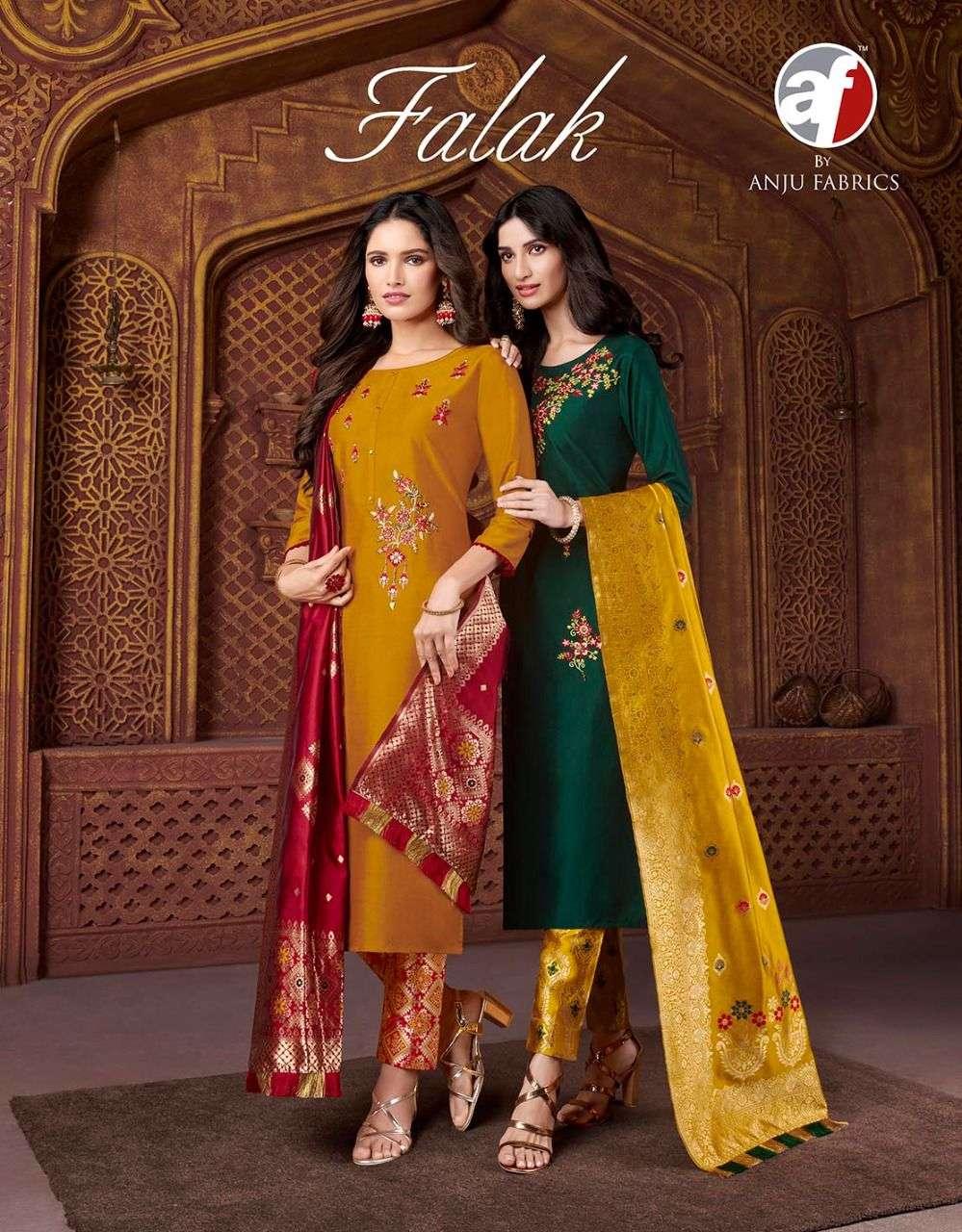 AF Stock Out Falak Vol 1 By Anju Fabric Designer Readymade Salwar Suit catalog Dealer