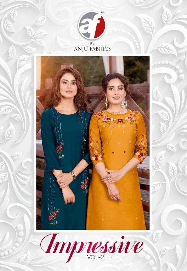AF Stock Out Impressive Vol 2 By Anju Fabrics Readymade Silk Kurti Collection