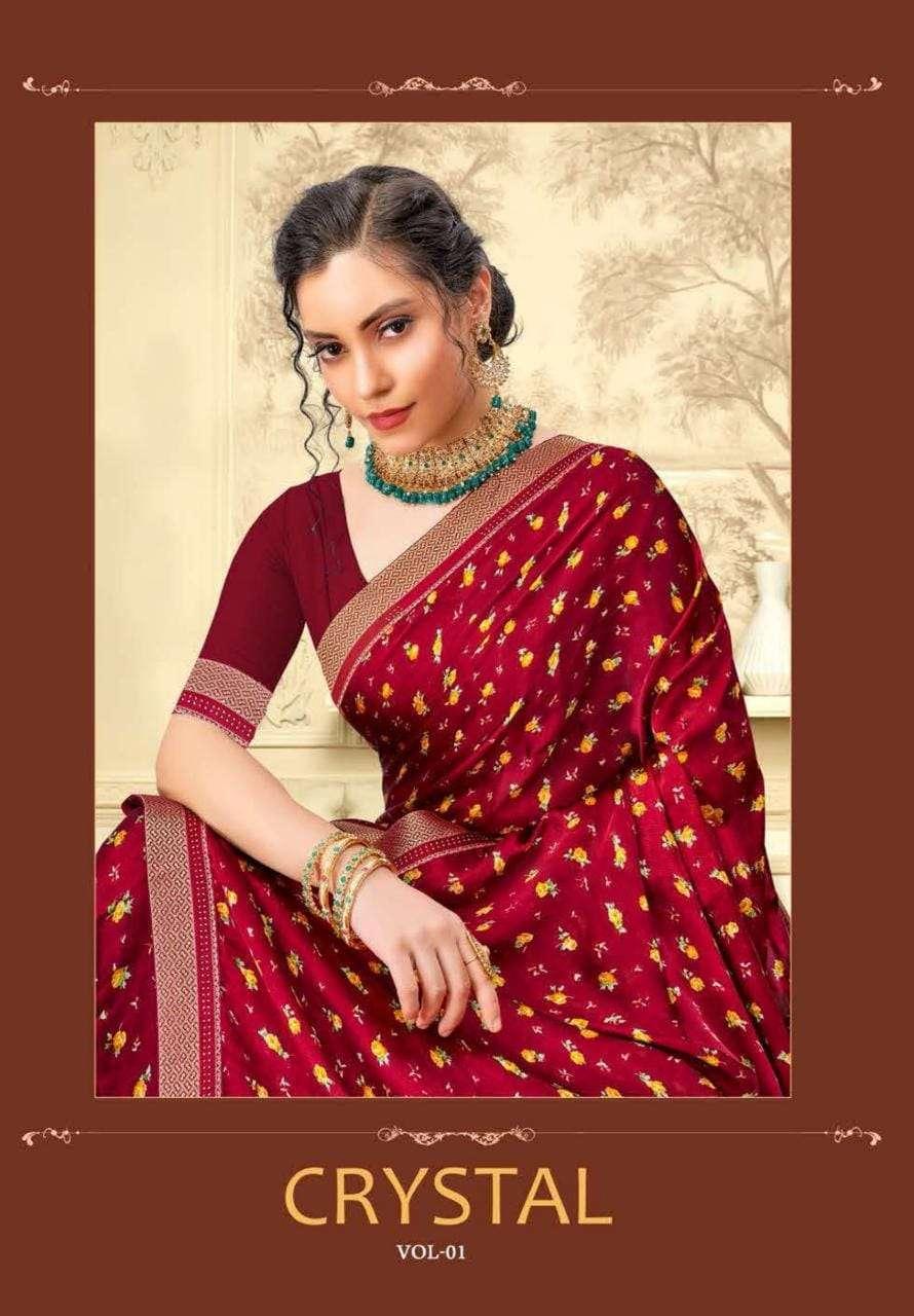 Aishwarya Cyrstal Fancy Printed Saree catalog Wholesaler