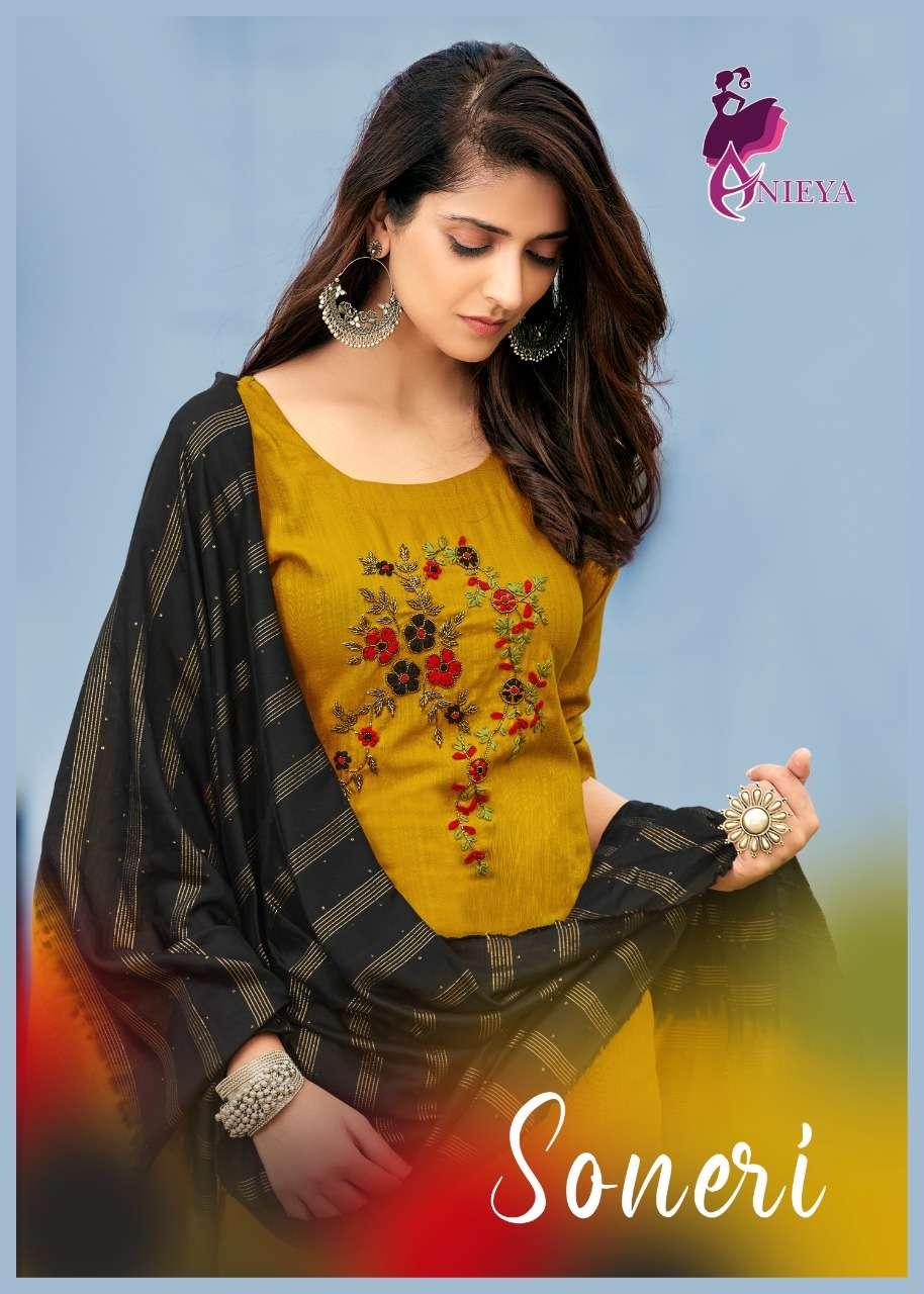 Anieya Soneri Vol 1 Fancy Stylsh Ready to Wear Kurti Bottom Dupatta Set Collection