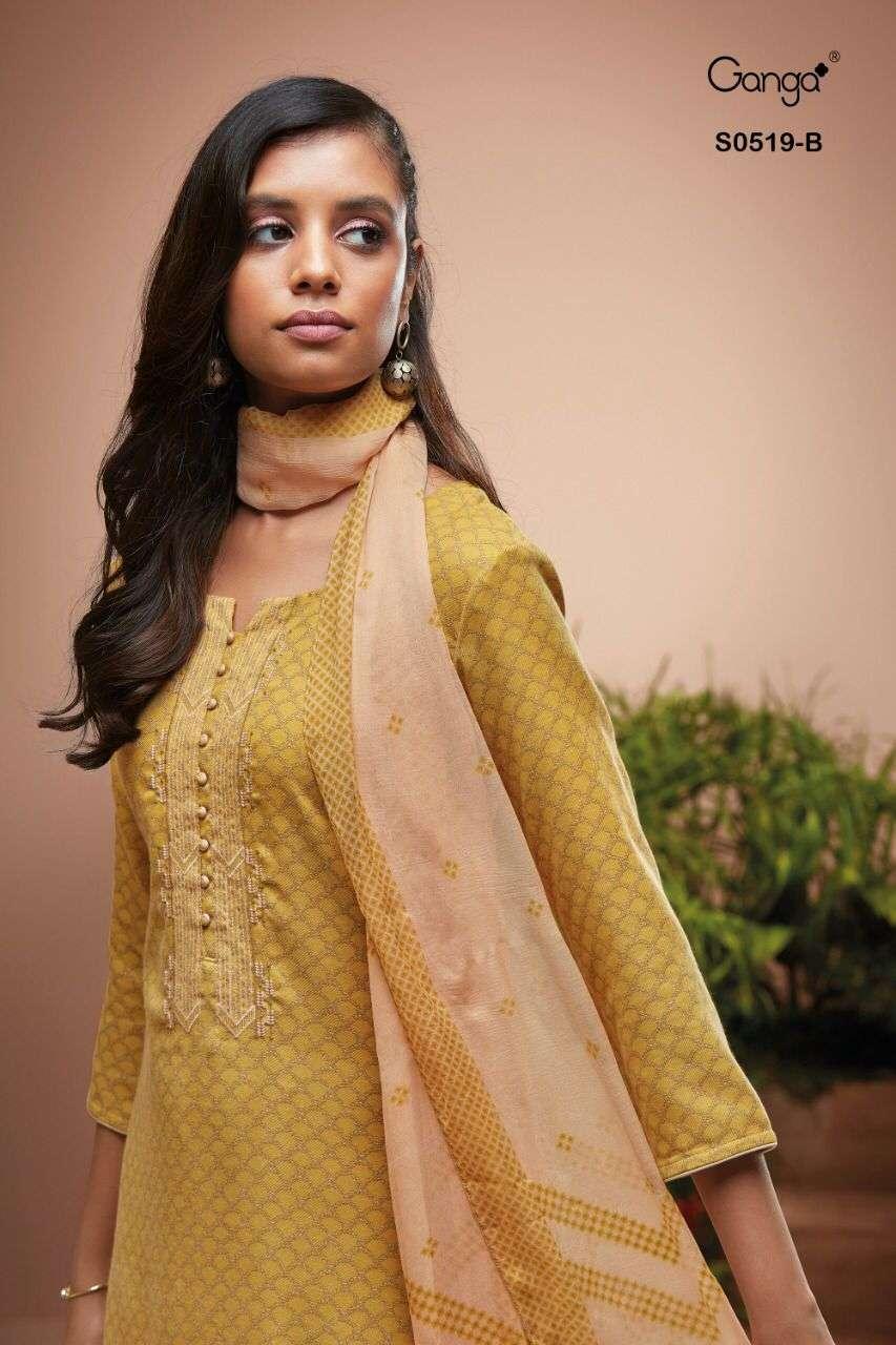 Ganga Destan 519 Wool Dobby Printed Embroidery Suit Wholesale
