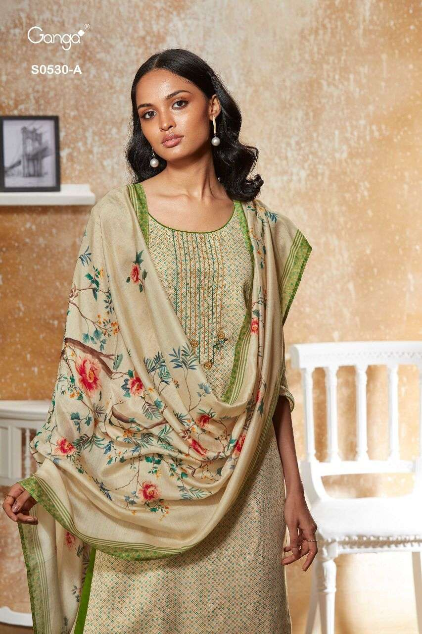 Ganga Elyse 530 Wool Dobby Embroidery Suit Wholesale Price