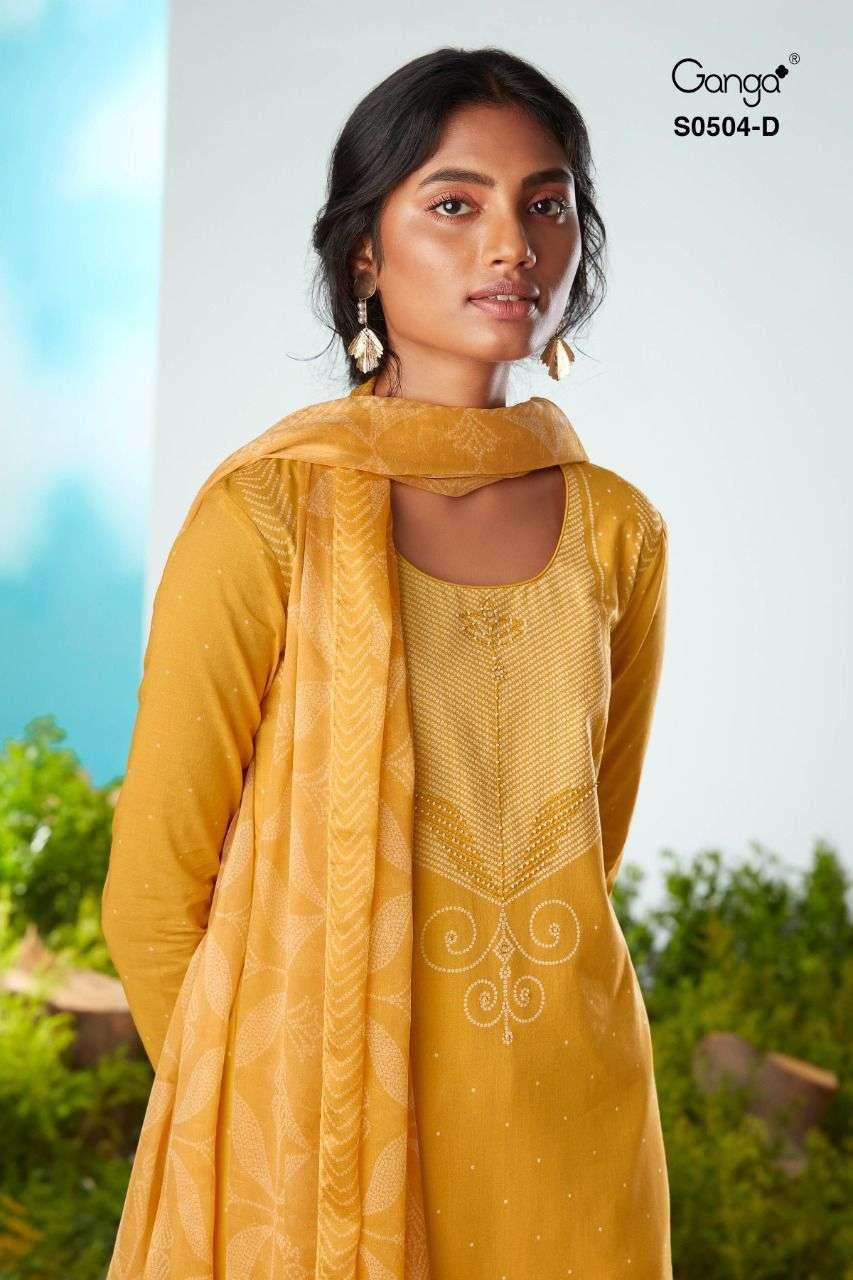 Ganga Larken 504 Pashmina Suit Handwork Collection Wholesale