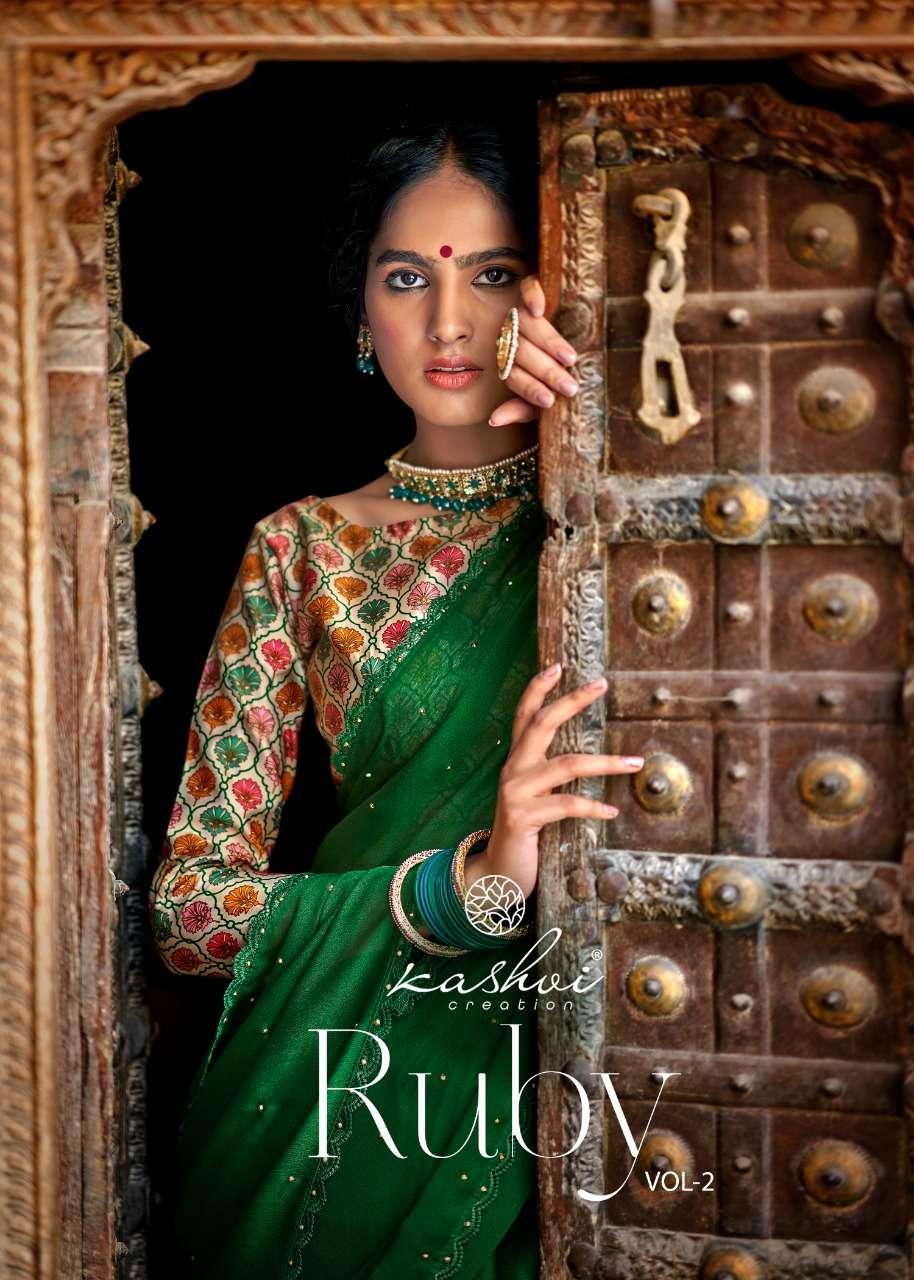 Kashvi Ruby Vol 2 Fancy Indian Chiffon Saree New Catalog Wholesaler