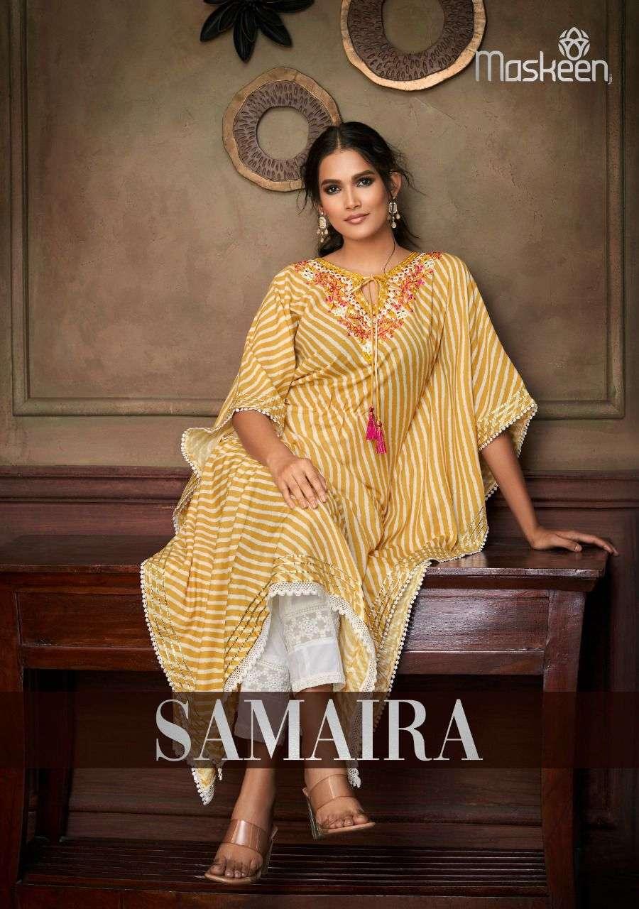Maskeen Samaira Exclusive Designer Print Kaftan Kurti With Bottom Set Collection