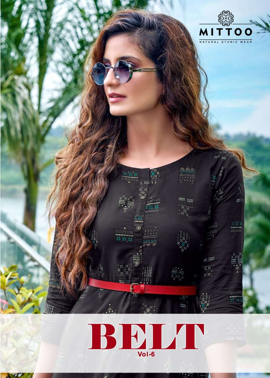 Mittoo Belt Vol 6 Rayon Print Kurti Style Gown In Wholesale Price