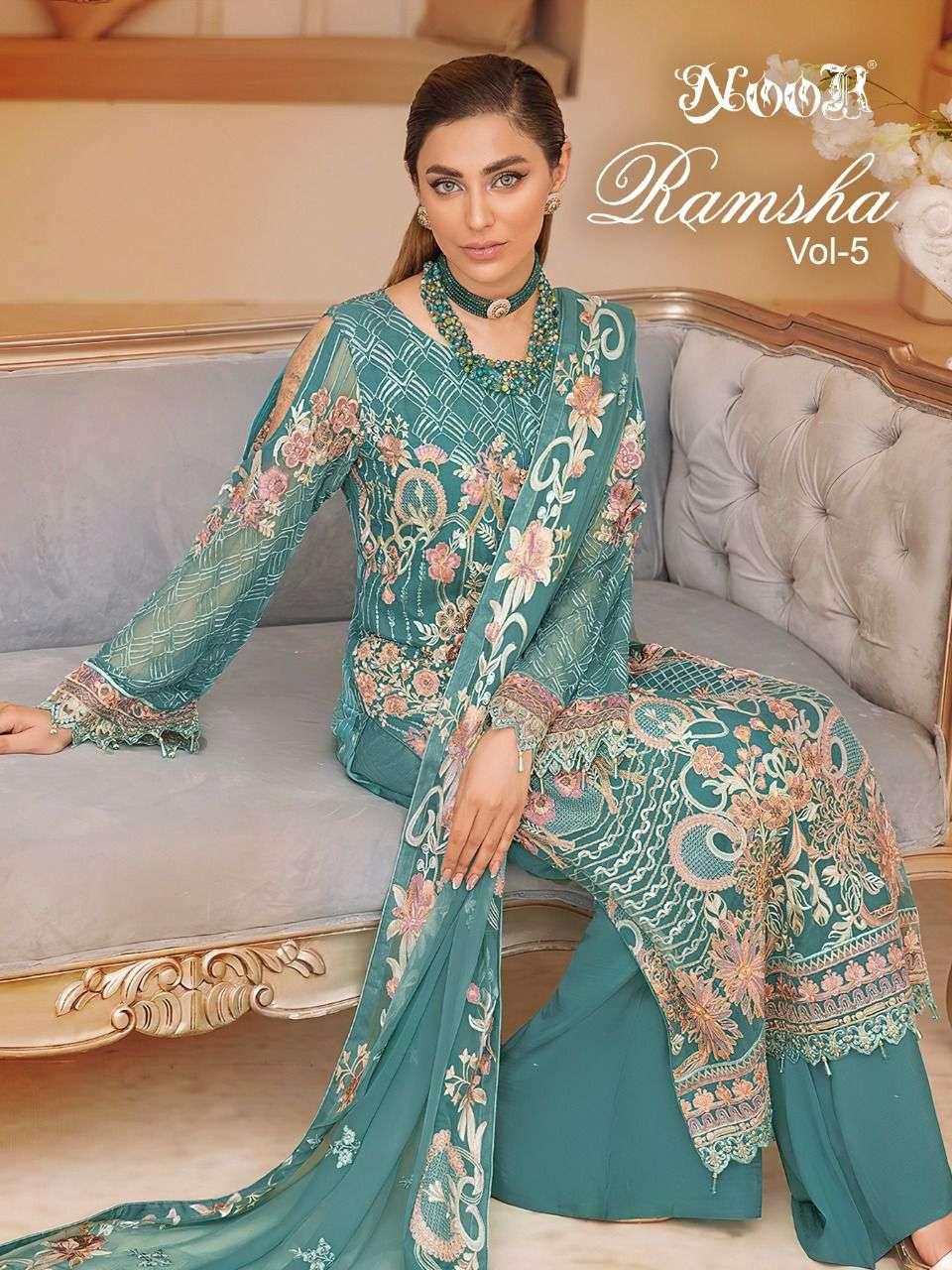 Noor Ramsha Vol 5 Premium Collection Pakistani Suit catalog Supplier in Surat
