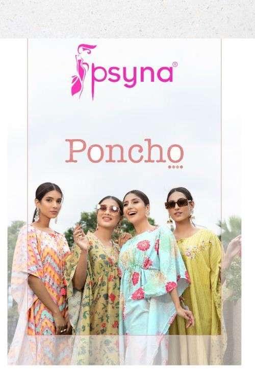 Psyna Poncho Exclusive Stylish Kaftan Cotton Designer Kurti Pent Set Collection