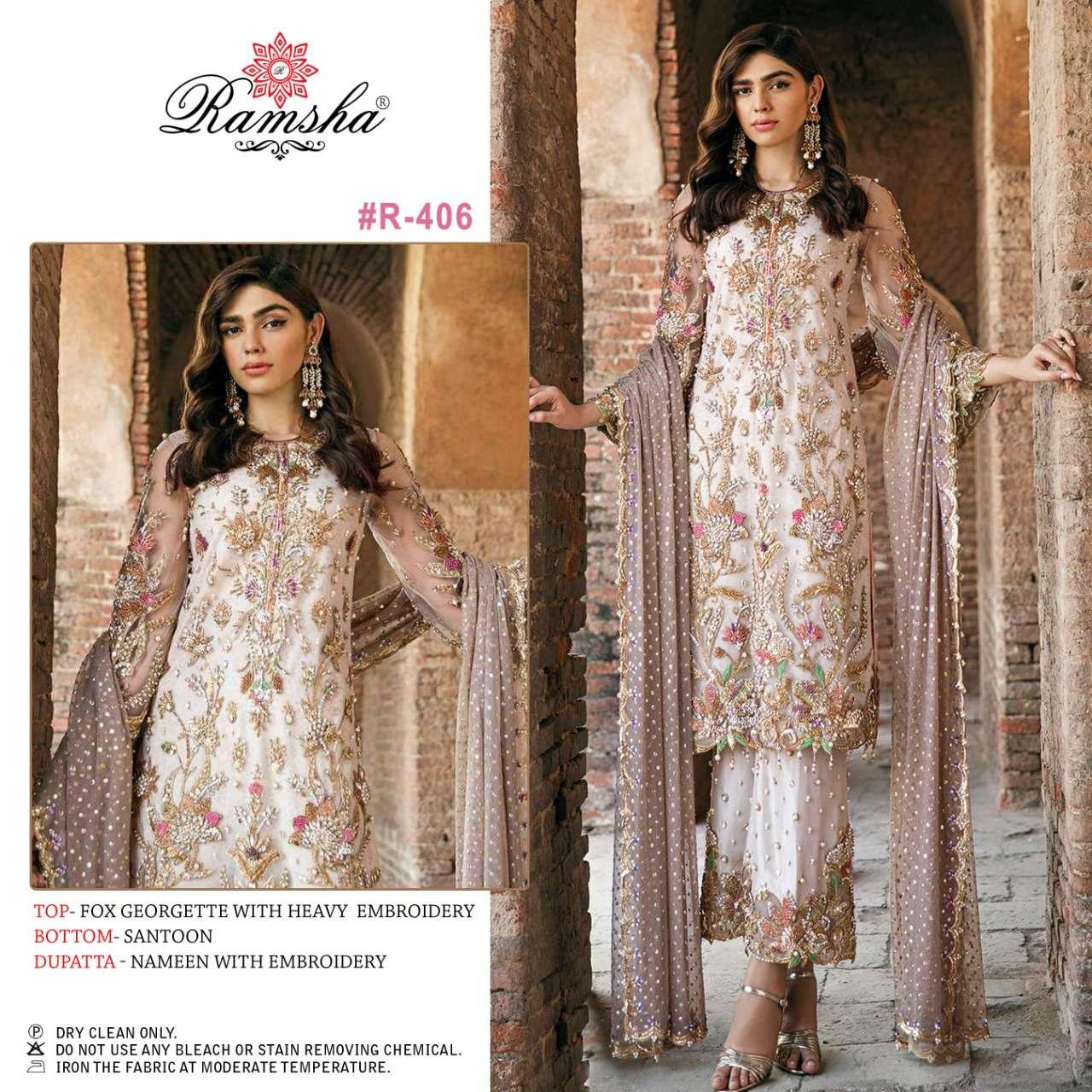 Ramsha R405 and Ramsha R406 fancy pakistani Suit Catalog Wholesaler
