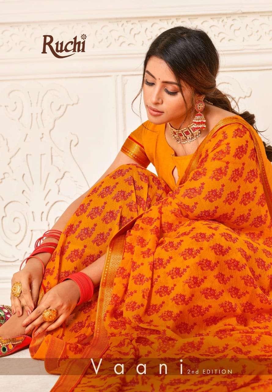 Ruchi Sarees Vaani 2nd Edition Printed Chiffon Saree Catalog Wholesaler