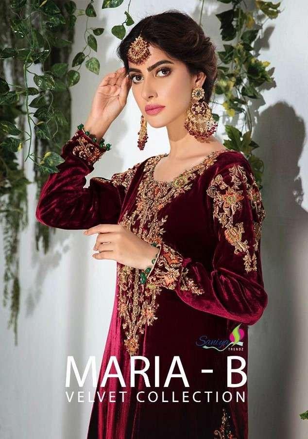 Saniya Trends Maria B Velvet Collection Pakistani Suit Winter Collection