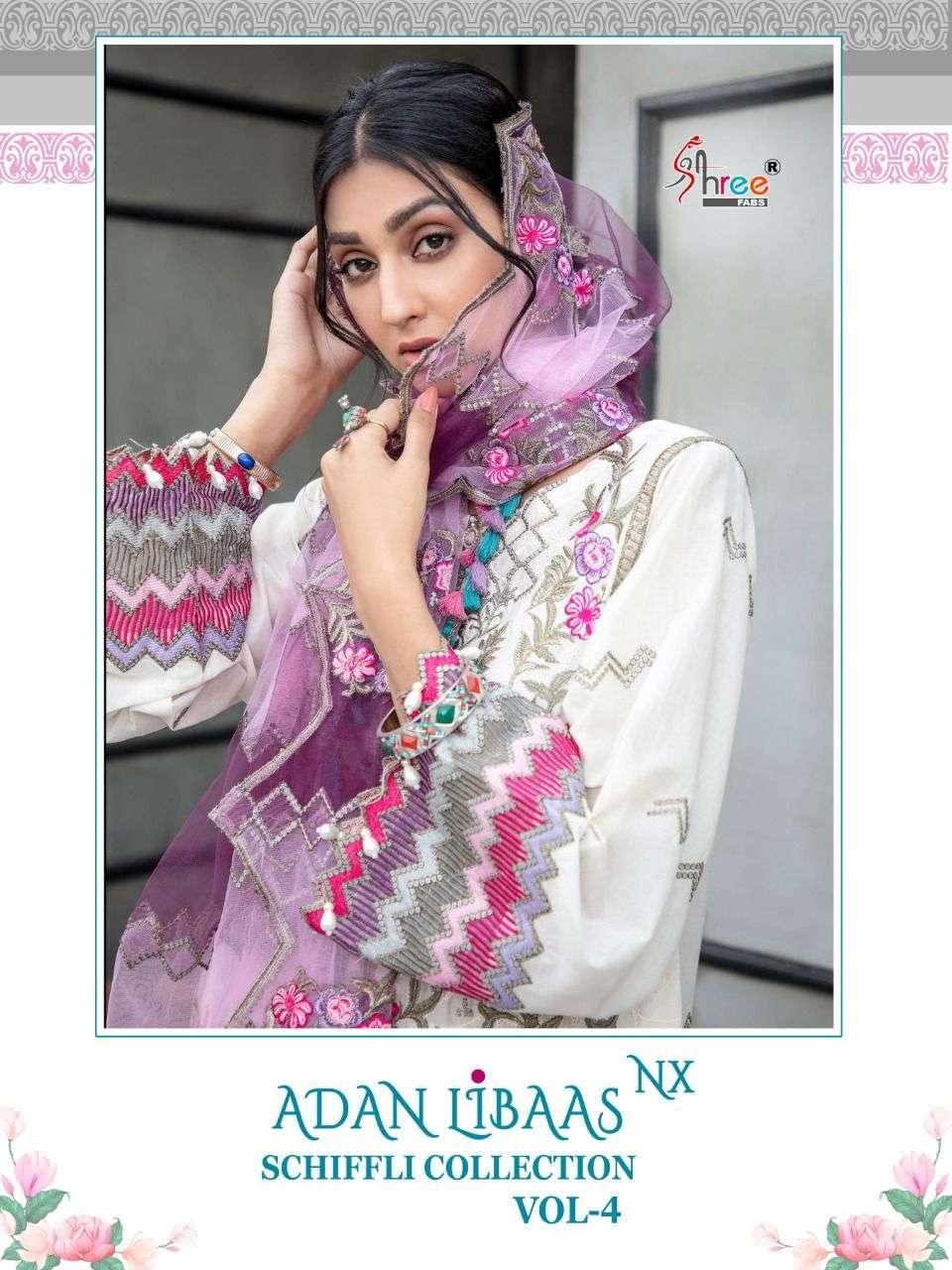 Shree Fabs Adan Libaas Schiffli Collection Vol 4 Nx Cotton Dress Wholesaler