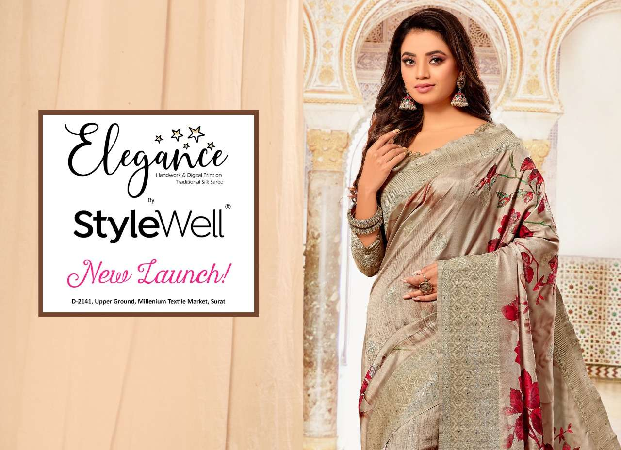 Stylewell Elegance Digital Print Handwork Silk Saree Catalog Supplier