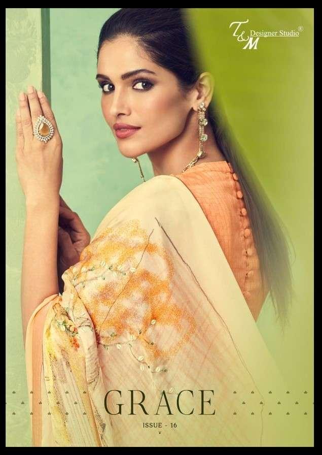 T and M Designer Studio Grace Vol 16 Designer Fancy Indian Saree Catalog Wholesaler