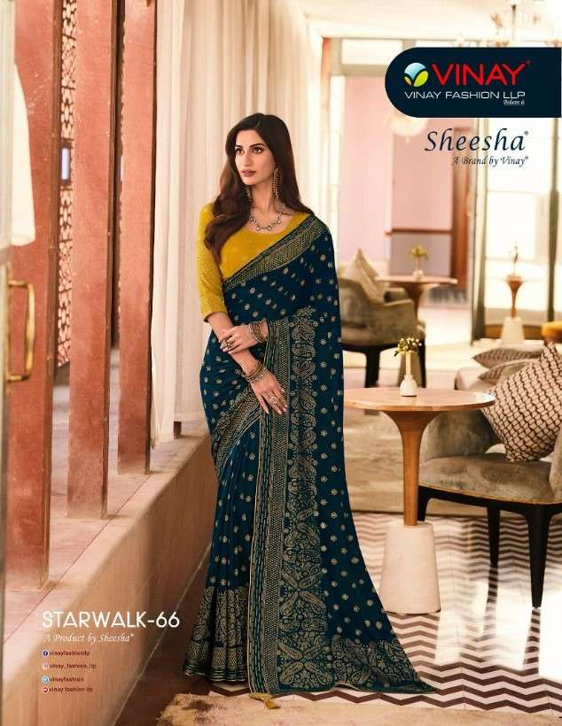 Vinay Fashion Sheesha Starwalk Vol 66 Designer Georgette Saree catalog Wholesaler